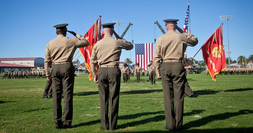 marines saluting flags